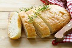 传统意大利ciabatta面包 免版税库存照片