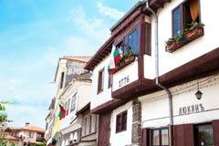 传统房子在大特尔诺沃 位于三小山的著名城镇 库存图片