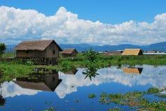 传统房子在Inle湖的,缅甸一个浮动村庄 图库摄影