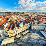 传统房子屋顶在布拉格,捷克 库存图片