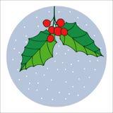 传统手拉的圣诞节莓果装饰贺卡 假日传染媒介圣诞节 图库摄影