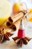 传统捷克圣诞节-抽烟的香火锥体、八角和桂香 图库摄影