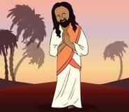 给传统致敬的印地安人 动画片 免版税库存图片