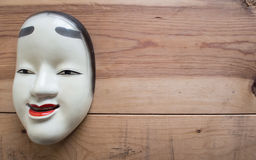 传统日本剧院面具由铁制成 免版税库存图片