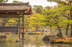 传统日本庭院在雨中 免版税库存照片