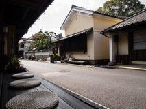 传统日本房子街道在Uchiko,日本 免版税库存图片