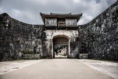 传统日本样式城堡墙壁 免版税库存图片