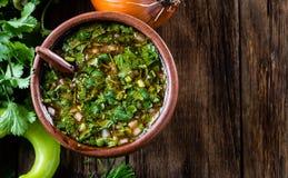 传统智利辣调味汁Pebre用辣椒,葱, coriandes 免版税库存图片
