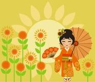 传统暑假向日葵或Himawari Matsuri在Jap 免版税库存图片