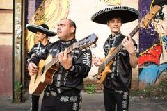 传统服装墨西哥流浪乐队的墨西哥音乐家 免版税库存图片
