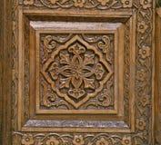传统木雕刻,乌兹别克斯坦 免版税库存照片