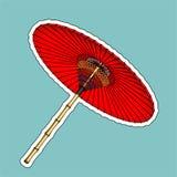 传统朱红色的伞 免版税库存图片
