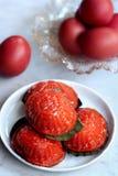 传统朱红色的草龟蛋糕 库存图片