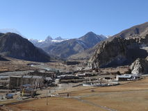 传统村庄在尼泊尔, anapurna区域 库存照片