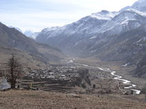 传统村庄在尼泊尔, anapurna区域 免版税库存图片