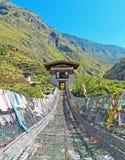 传统桥梁在不丹 库存图片