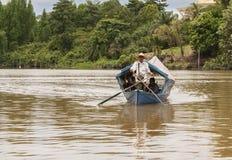 传统河船古晋,沙捞越 库存照片