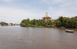 传统河船沙捞越,马来西亚 免版税库存照片