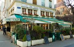 传统法国咖啡馆路易斯菲利普,巴黎,法国 免版税库存图片