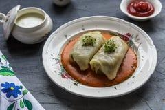 传统波兰盘- golabki 圆白菜叶子充塞用肉末和米 图库摄影