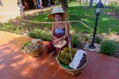 传统泰国样式卖主在泰国古老模仿公园, kanchanaburi 免版税图库摄影