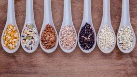 传统泰国米的分类在匙子的在木backgroun 免版税库存照片