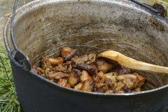 传统猪肉炖煮的食物,在大锅 免版税库存图片