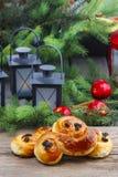 传统瑞典小圆面包。番红花小圆面包 库存图片