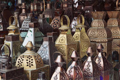 传统玻璃和金属灯 库存图片