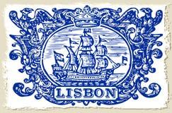 传统瓦片Azulejos里斯本-葡萄牙 库存例证