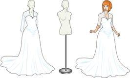 传统白色婚礼礼服的妇女 库存图片