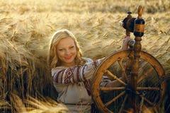 传统礼服的美丽的年轻乌克兰女孩 库存图片