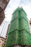 传统竹脚手架在楼房建筑 库存图片