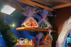 传统纪念品在欧洲圣诞节市场- ginge上 免版税库存照片