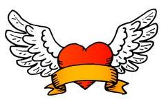 传统纹身花刺样式传染媒介飞过的心脏 免版税库存图片