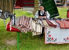 传统罗马尼亚地毯 免版税图库摄影