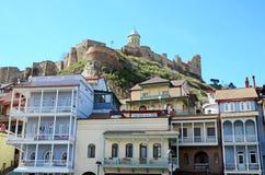 传统美丽的大厦在Abanotubani区 老镇,第比利斯 库存图片
