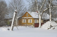 传统老村庄房子在波兰 免版税图库摄影