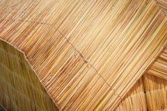 传统芦苇小屋细节在的喀喀湖, Uros浮动海岛的  库存图片