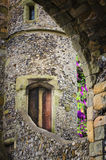 传统英国童话城堡塔 免版税库存图片