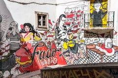 传统葡萄牙忧伤街道画  库存图片