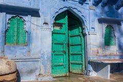 传统蓝色房子在蓝色城市乔德普尔城 库存照片