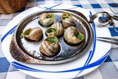 传统蜗牛用大蒜黄油 免版税库存照片