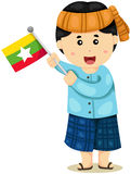 传统衣裳的逗人喜爱的缅甸男孩 图库摄影