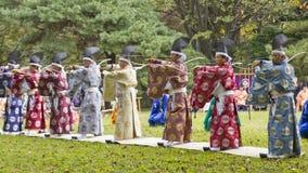 传统表现的日本射手在东京,日本显示 免版税图库摄影