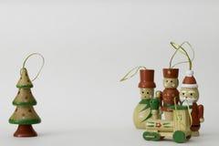 传统被绘的木玩具圣诞节装饰 库存图片