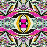 传统装饰佩兹利方巾 与艺术性的样式的手拉的五颜六色的阿兹台克样式 库存照片