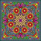 传统装饰花卉佩兹利方巾 免版税库存照片
