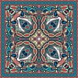 传统装饰花卉佩兹利方巾 免版税图库摄影
