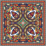 传统装饰花卉佩兹利方巾 库存照片